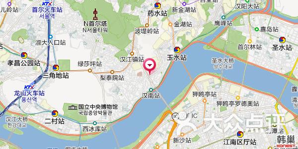 地图哦,位于首尔汉南地铁站附近