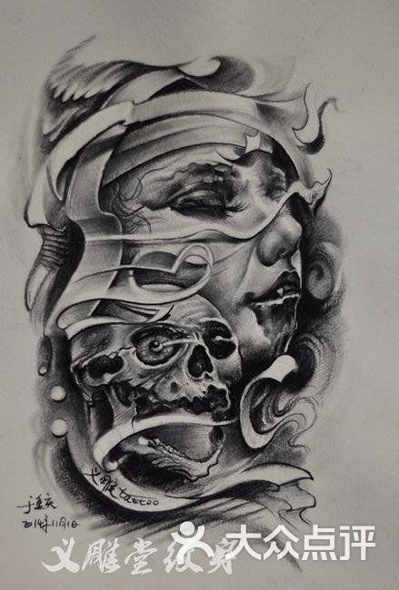 南坪义雕堂纹身欧美人物手稿图片 - 第31张
