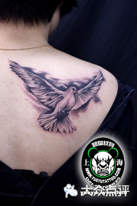 越狱刺青纹身工作室-背部鸽子纹身图片-上海丽人