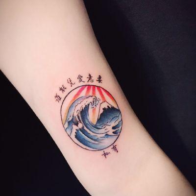 设计海浪纹身款式图