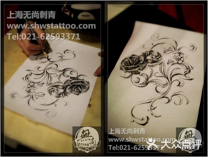 玫瑰:纹身手稿花枝刺青v玫瑰~无尚图案CAD洞面绘制域有图片
