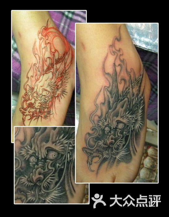 北京占山刺青 腿面纹身龙头纹身