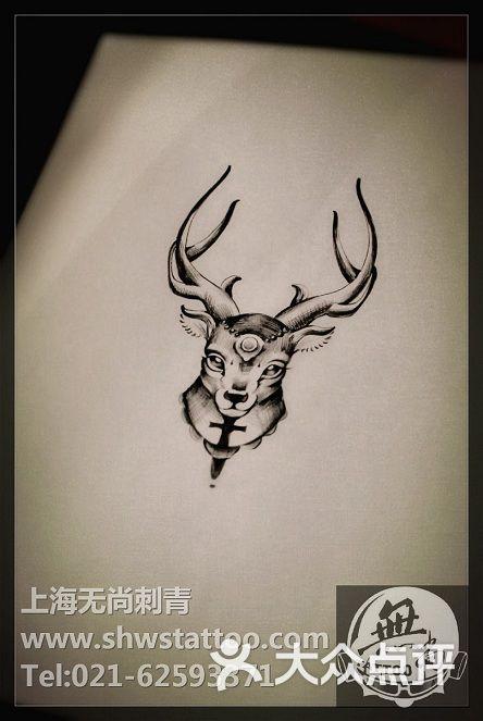 手稿:小鹿头纹身图案设计~无尚刺青