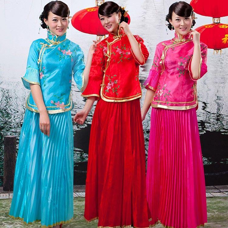 中式婚礼伴娘穿什么图片