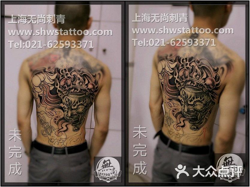 传统大背:大黑天纹身图案分次完成中