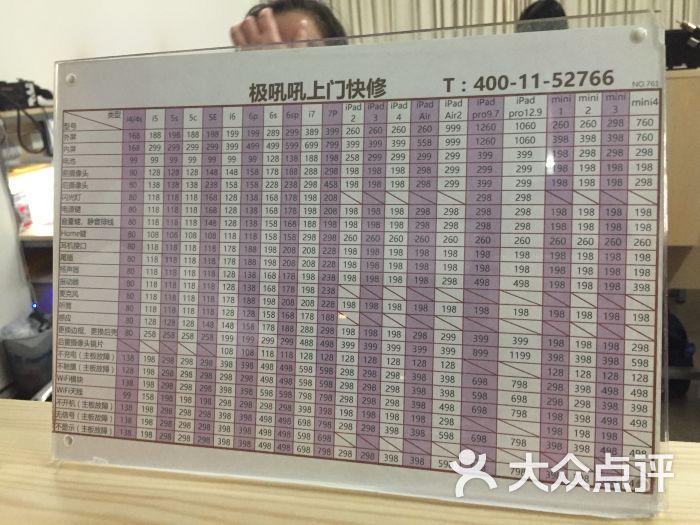 极吼吼手机上门维修中心(中山公园店)价目表图片 - 第2张
