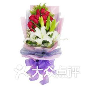 红玫瑰21枝加百合2枝