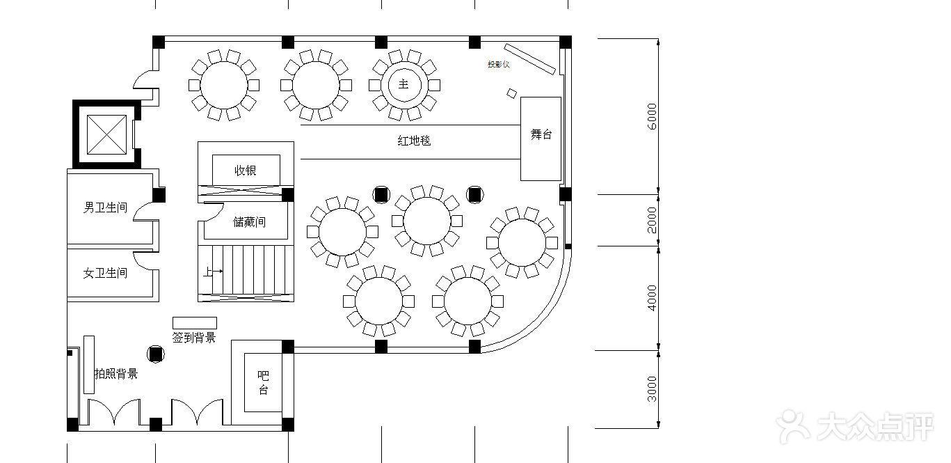 一层8桌婚宴平面图