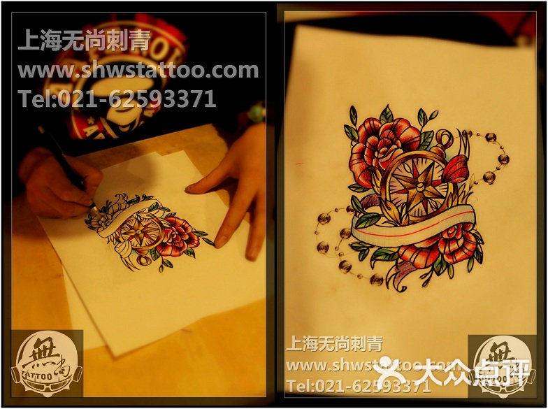 无尚刺青纹身工作室 手稿:指南针玫瑰纹身图案设计~无尚刺青图片