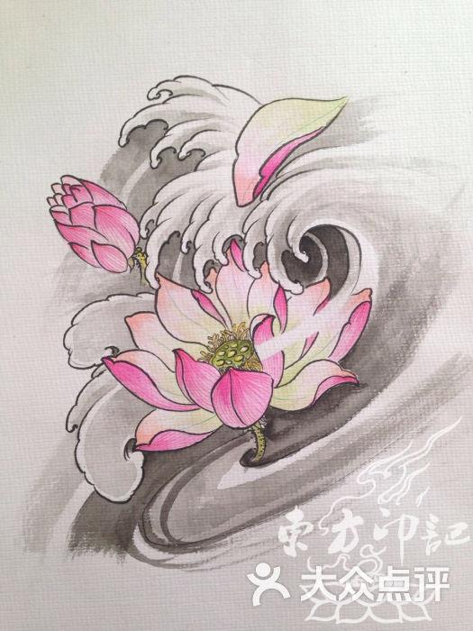 彩色荷花纹身手稿——北京最好的纹身店