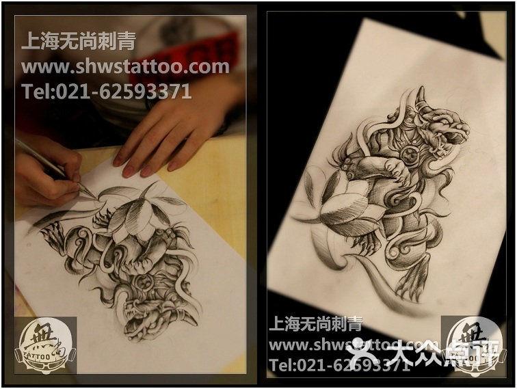 手稿:传统饕餮纹身图案设计~无尚刺青