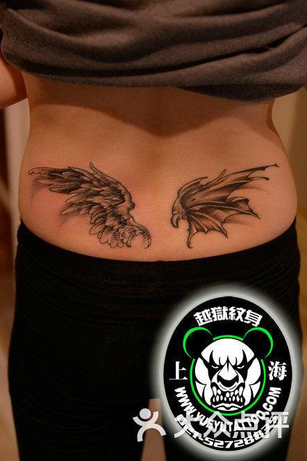 腰部天使恶魔翅膀纹身