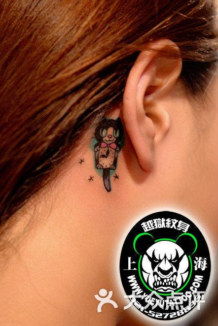 越狱刺青(越域)纹身(徐家汇店)耳后小猫时钟纹身图片 - 第4564张