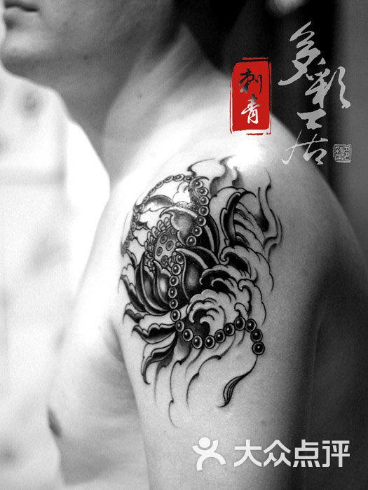 莲花佛珠纹身