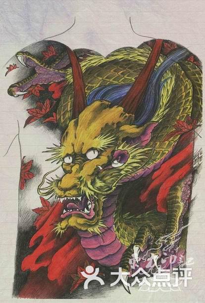 满背龙纹身手稿——北京最大的纹身店图片