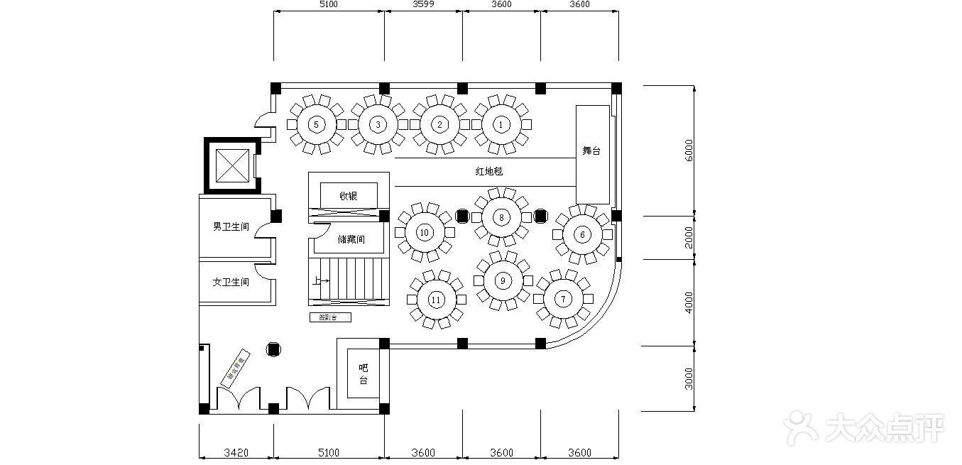 一层10桌婚宴平面图