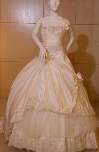 性格活泼可爱的新娘穿上这款公主风的婚纱不禁略显