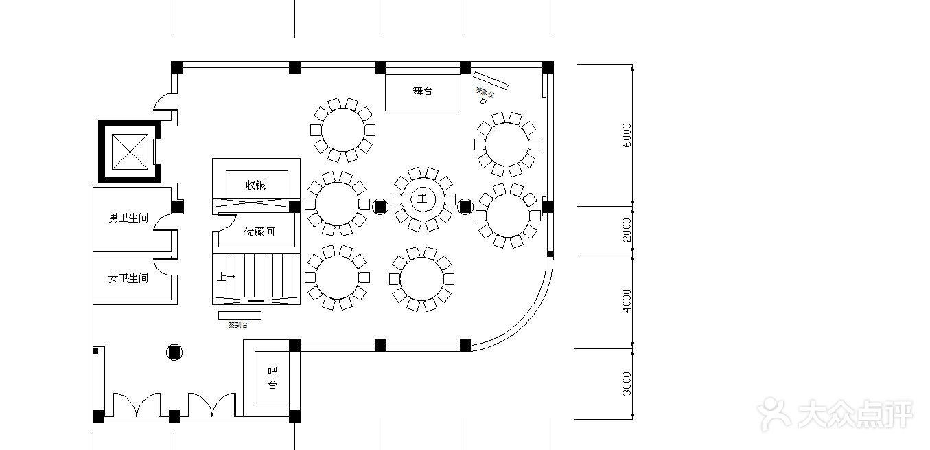 聚膳源·婚宴一层8桌婚宴平面图图片-北京餐厅婚宴