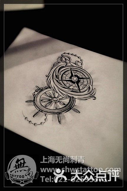 船舵纹身手稿图片