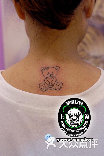 越域刺青总店(中国高端刺青先行者)颈后镂空小熊纹身图片 - 第7980张