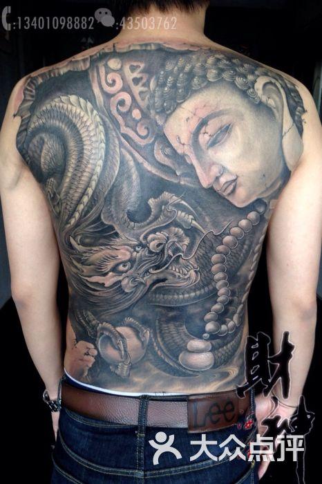 满背纹身作品,满背龙佛纹身! 刺青图片