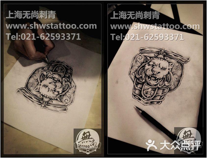 手稿:石狮子纹身图案设计~无尚刺青