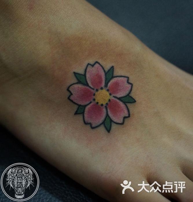 唐山惊蛰刺青纹身-樱花纹身脚面纹身惊蛰刺青作品
