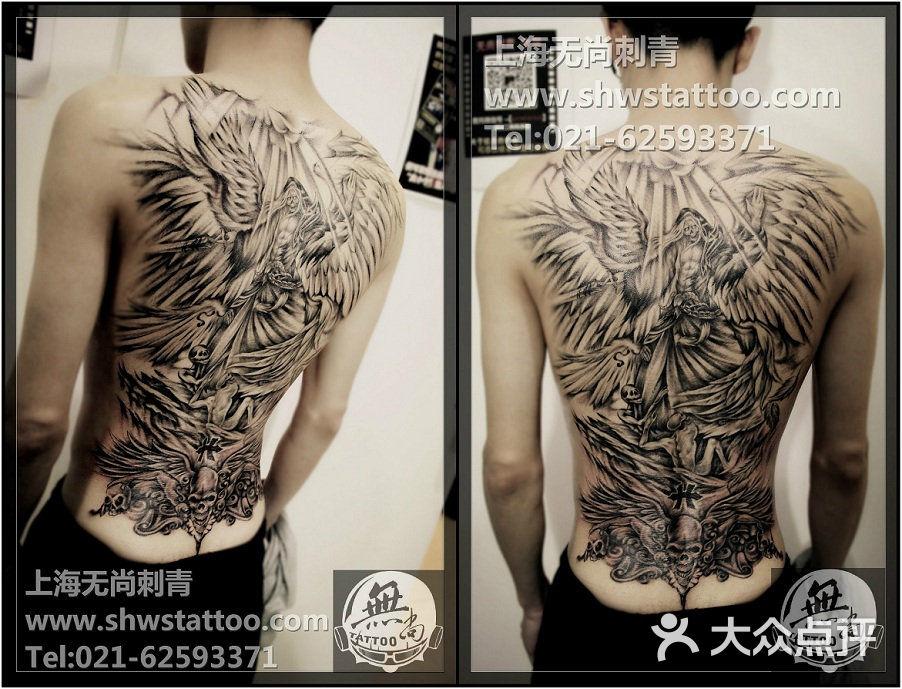 无尚刺青纹身工作室欧美黑灰大背,堕落天使纹身图案