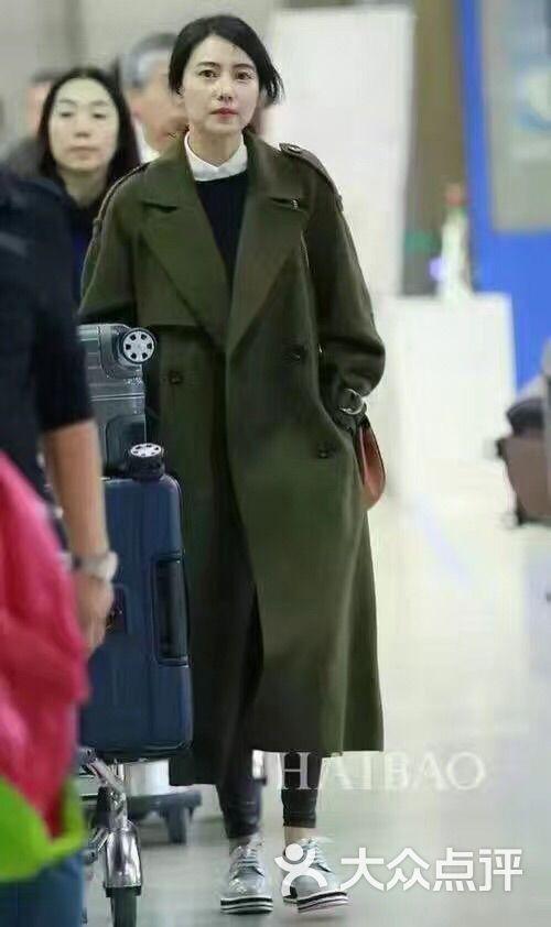 明星高圆圆同款双面羊绒大衣