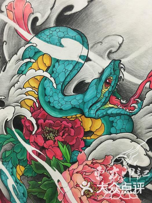 蛇盘牡丹纹身手稿——北京最好的纹身店