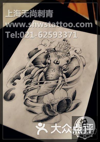 手稿:大象神纹身图案手绘设计~无尚刺青图片