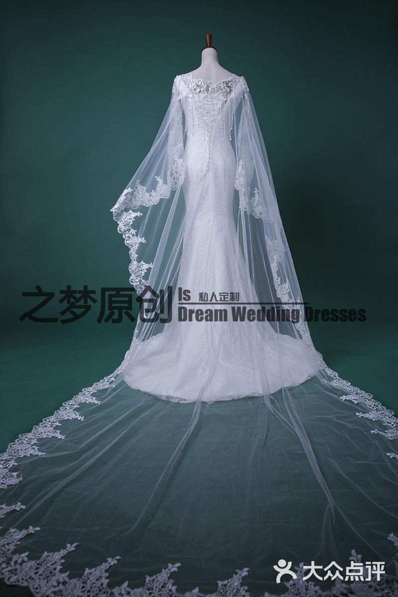 中式礼服头纱手绘