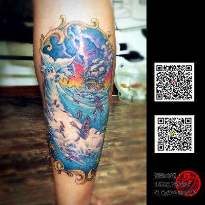鲸鱼与船纹身图