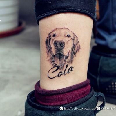 狗头写实彩色小腿唯美纹身图