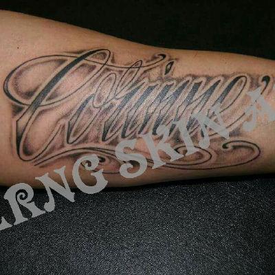 手臂字母3D纹身款式图
