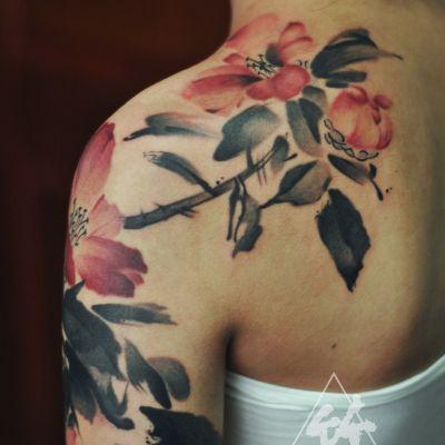山茶花纹身款式图