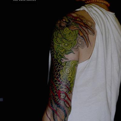 大臂麒麟纹身款式图