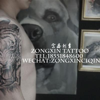 虎头纹身图