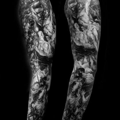 花臂欧美写实纹身图