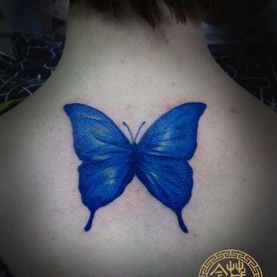 蓝蝴蝶纹身图