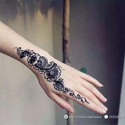 性感手部花朵美图纹身款式图