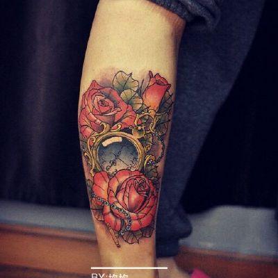 时间玫瑰纹身款式图