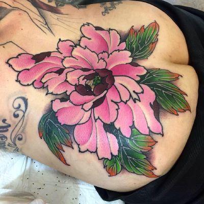 传统牡丹纹身款式图