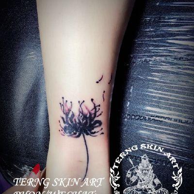 脚踝彼岸花-宁波工作室纹身款式图