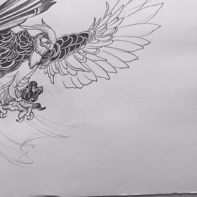 未完成猫头鹰纹身图