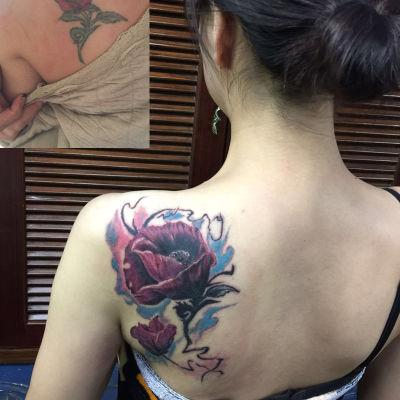写意玫瑰遮盖旧纹身图