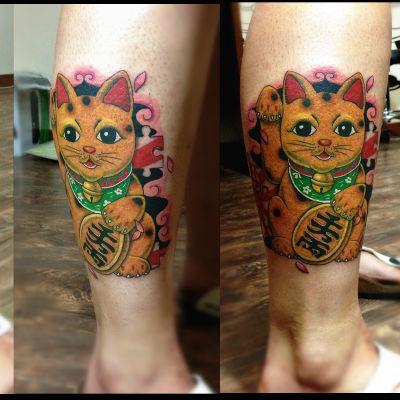 招财猫纹身图