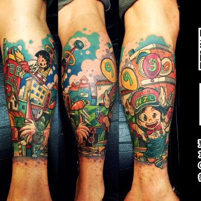 卡通小腿纹身图