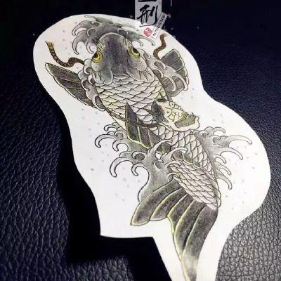 手稿鱼纹身图