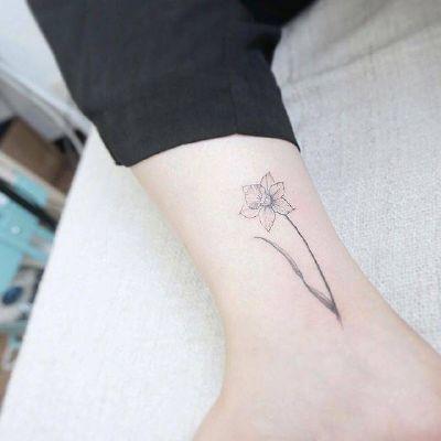 纹身图案女脚踝小清新女孩脚踝小清新花朵纹身图案 2717图片大全图片